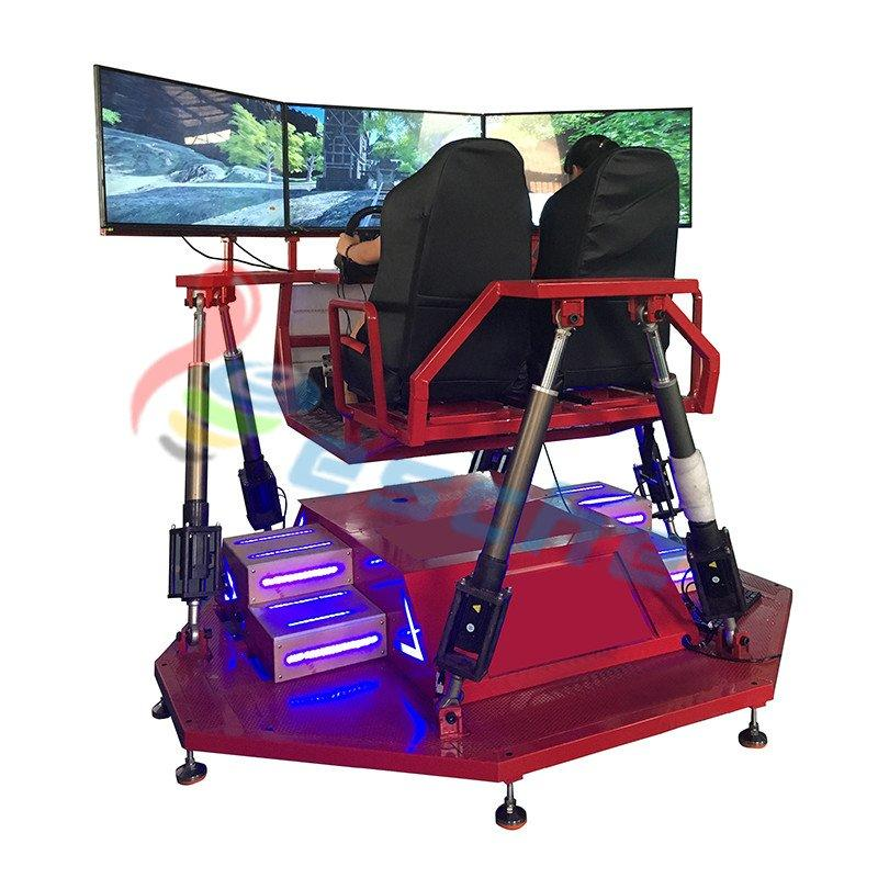 360 degree 3 screens 6 axis 2 seats vr racing simulator